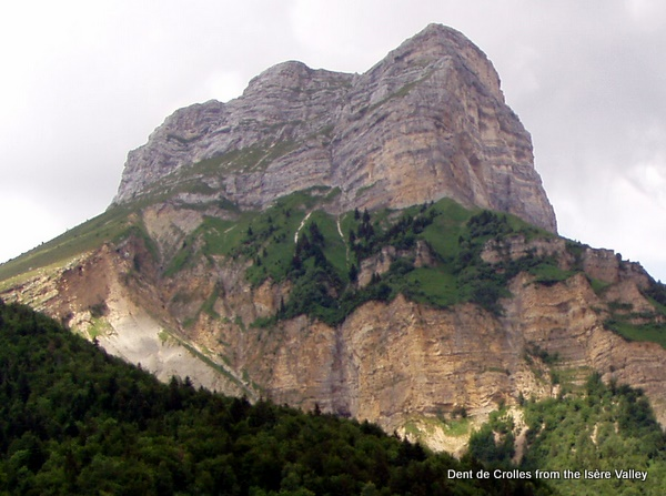 Photograph of the Dent de Crolles from the Isère Valley