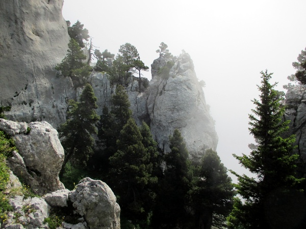 Photograph of the cliffs from the eastern ridge of the Aup du Seuil