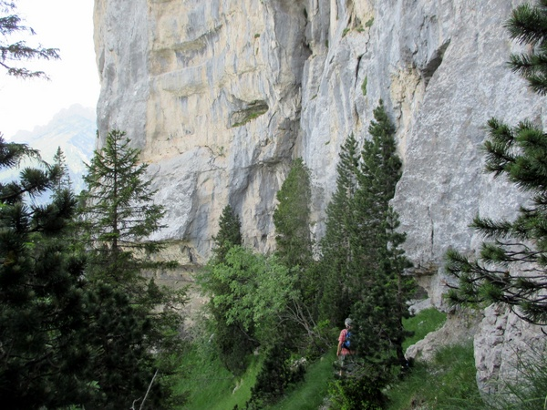 Photograph of the cliffs below the Belvédère on Dent de Crolles