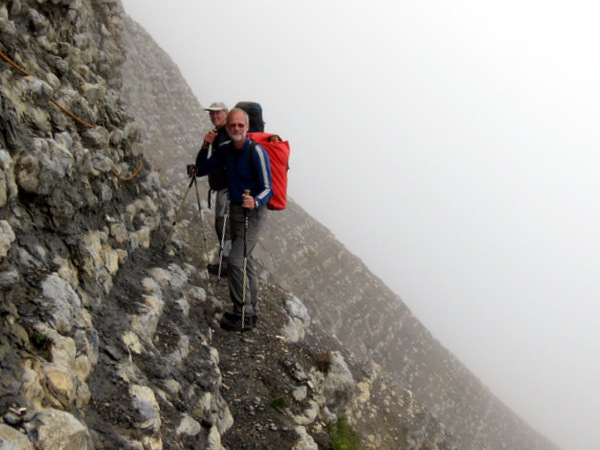 Photograph of traversing on the Hauterivian marls on the Pas de Terreaux, Dent de Crolles