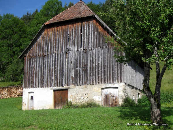 Photograph of a typical Carthusian barn at Mourinas, St. Pierre de Chartreuse