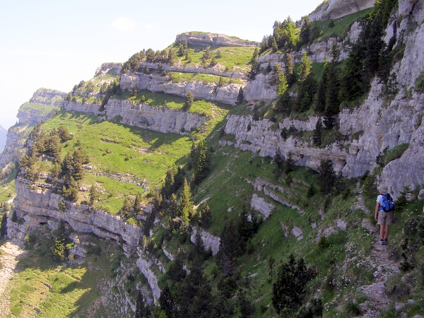 Photograph of the terrace path above the Ladder Cave on l'Alpe