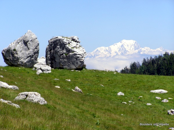 Twin Giant Boulders with Mont Blanc on l'Alpette
