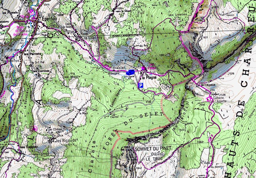 Map showing start of walks from La Plagne (Map: IGN 1:25,000 3333 OT)