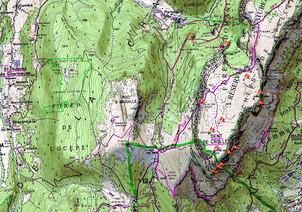 Map of the Dent de Crolles area on the IGN 1:25000 map 3334OT Col du Coq is bottom centre, and Perquelin right of top centre.