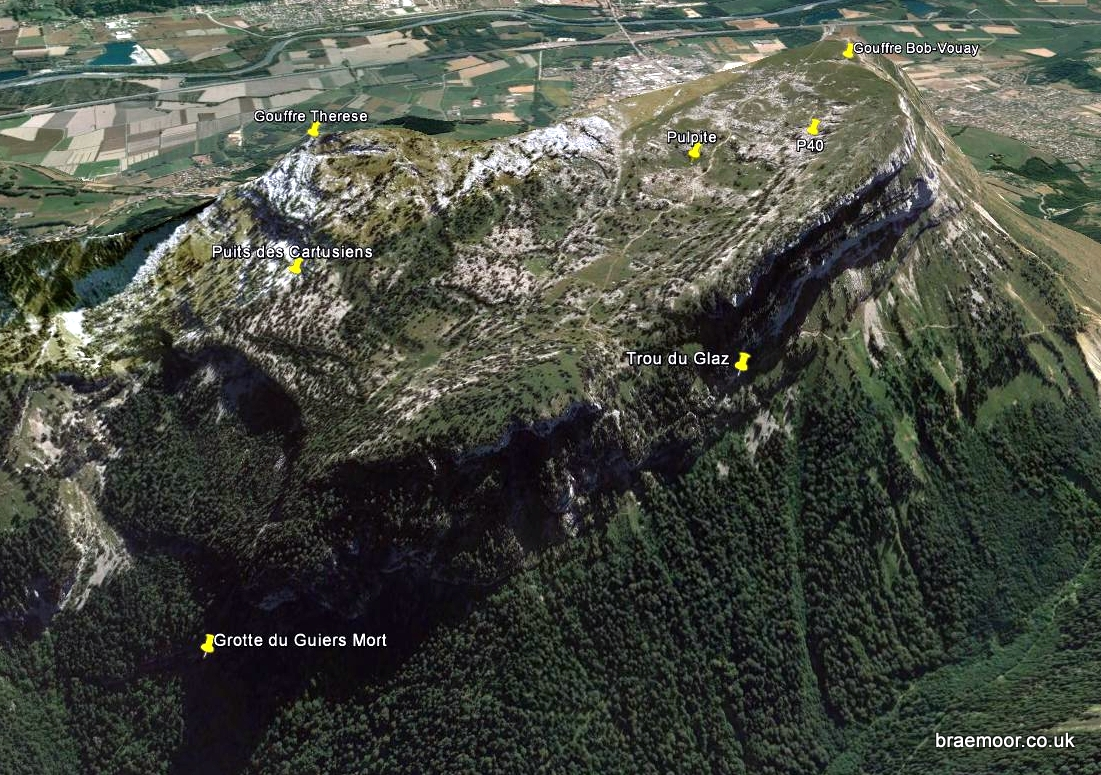 Dent de Crolles from the north-west showing 7 of the 11 entrances. The other four are on the far side.