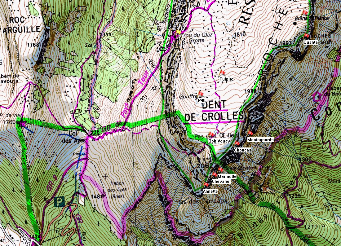Map of Dent de Crolles showing position of Trou du Glaz on the IGN 1:25000 map 3334OT.