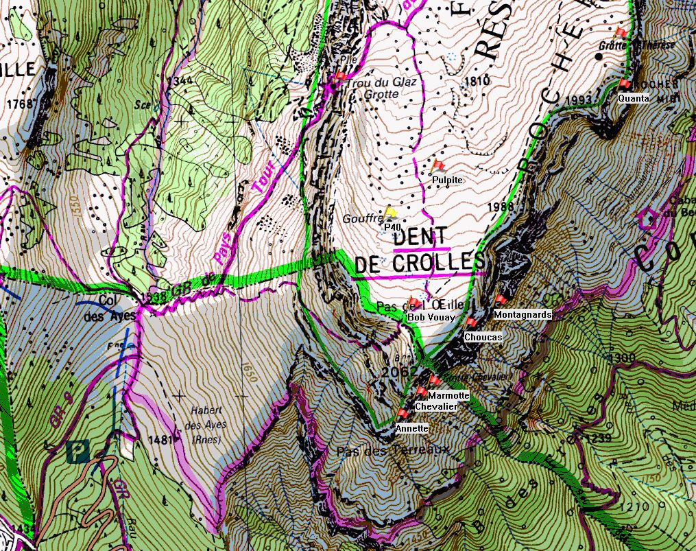 Map of Dent de Crolles showing location of P40 on the IGN 1:25000 map 3334OT.