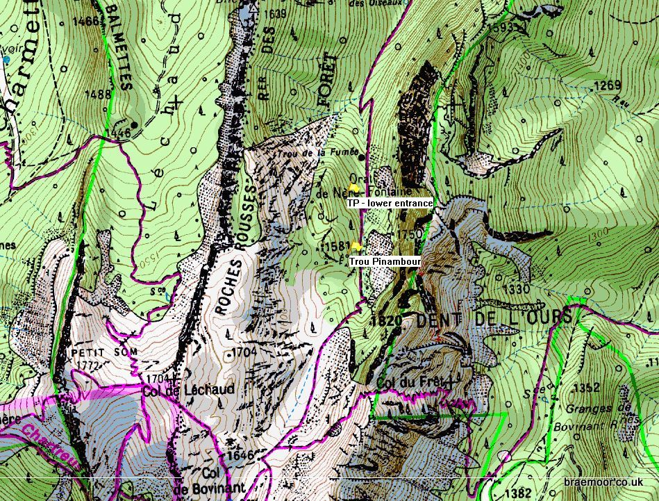 Showing location of Trou Pinambour on Grand Som on the IGN 1:25000 map 3333OT.