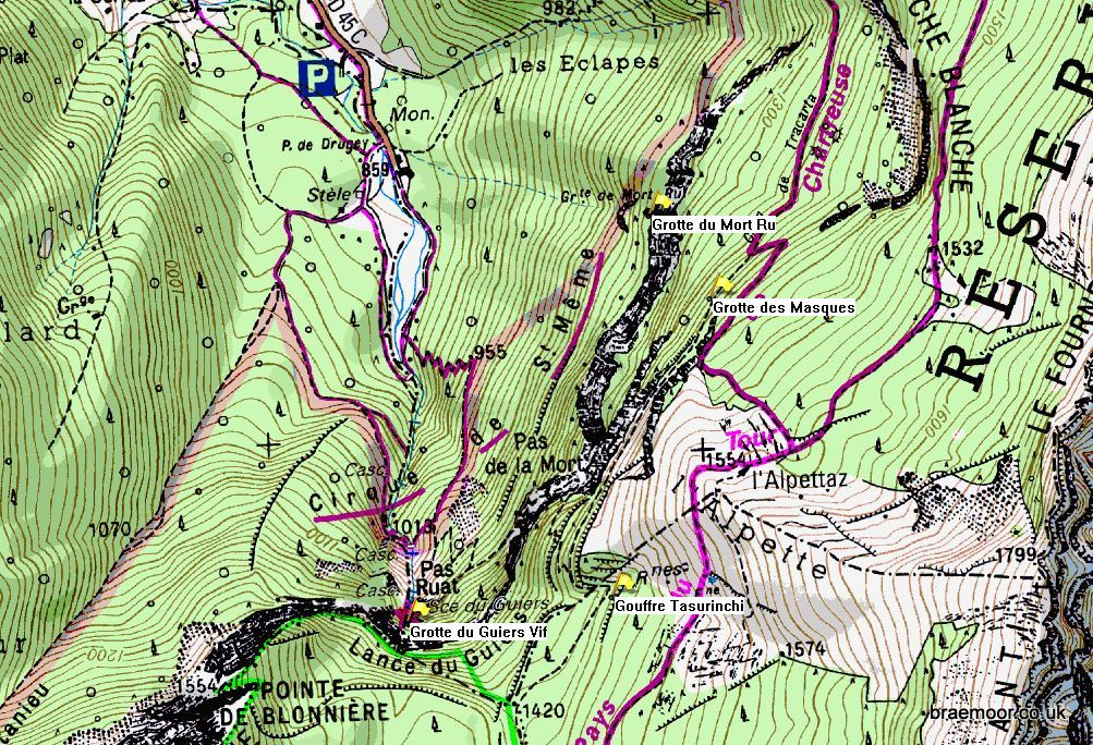 Showing location of caves in the Cirque de Saint Même on the IGN 1:25000 map 3333OT.